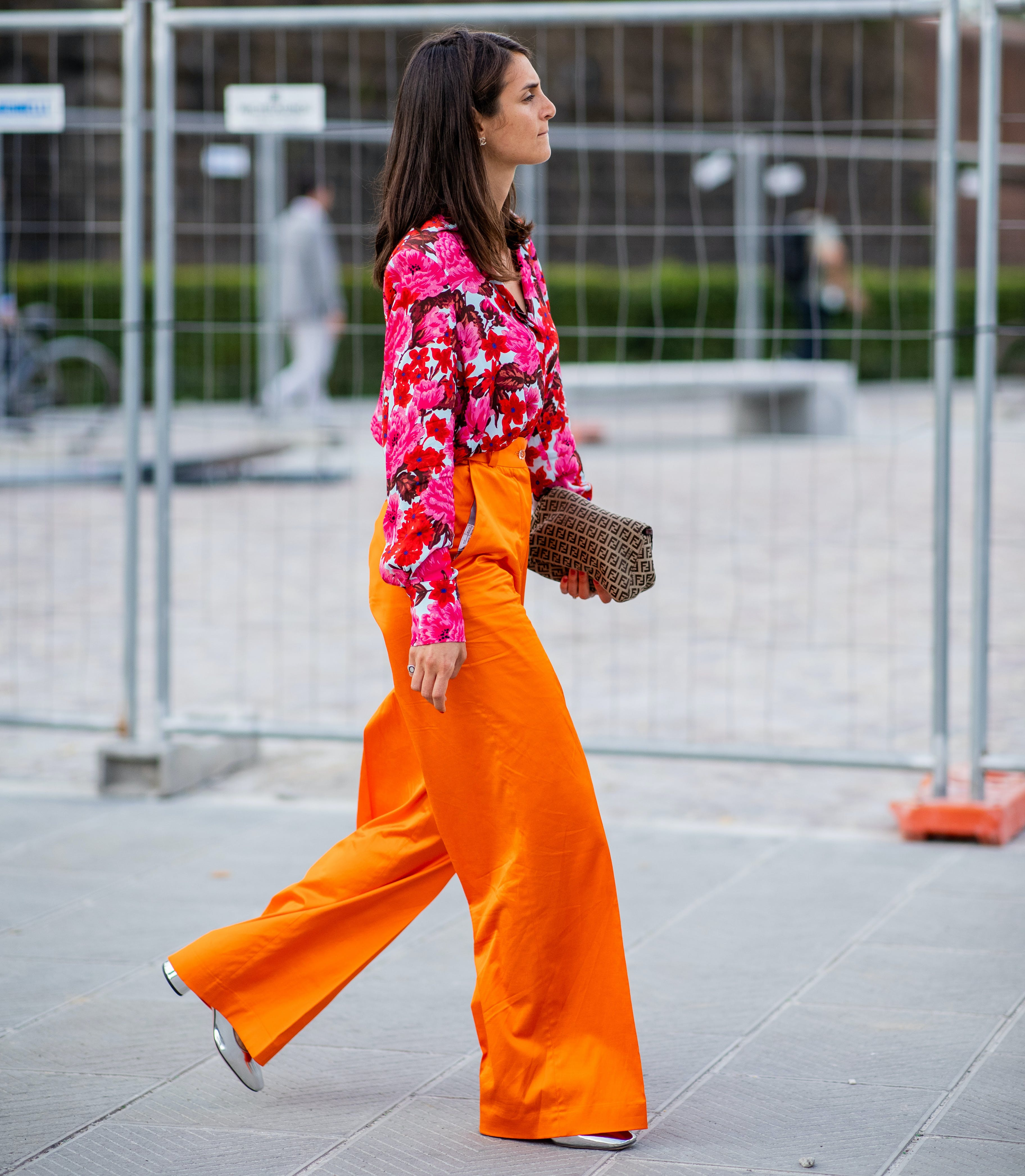 a woman wearing very bright colors