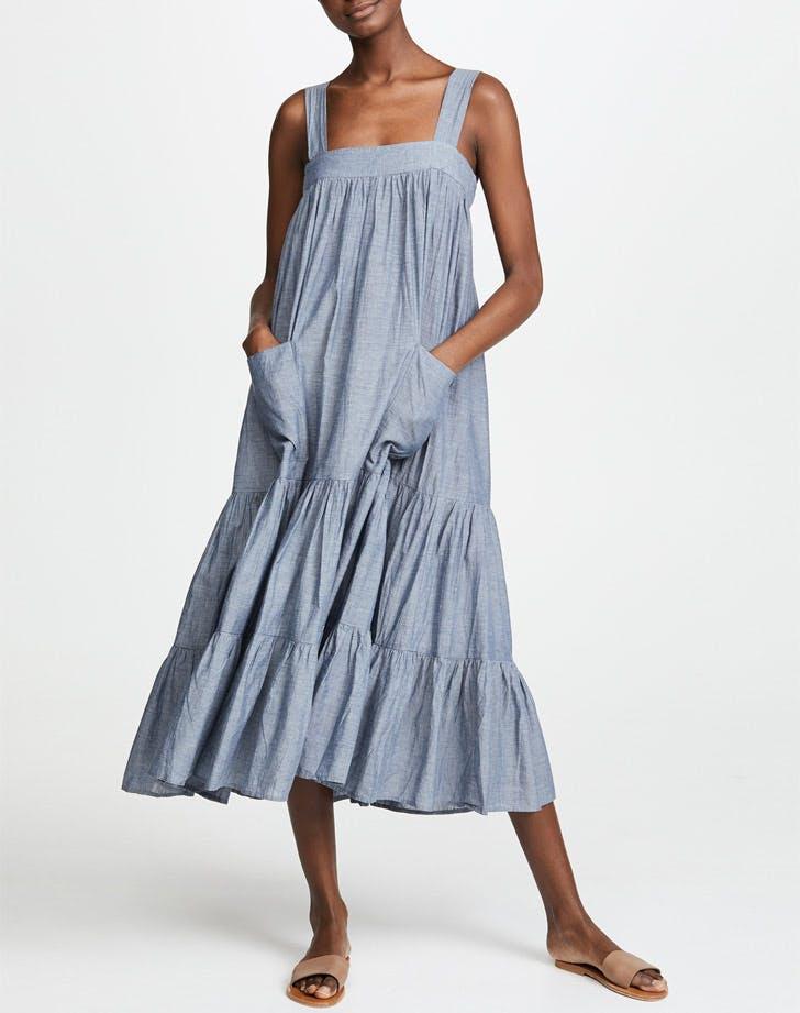 apiece apart tiered chambray dress