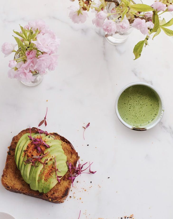 avocado toast and matcha