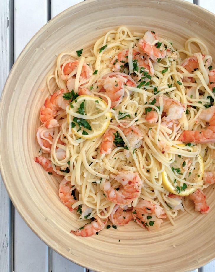 baked shrimp scampi with linguine recipe