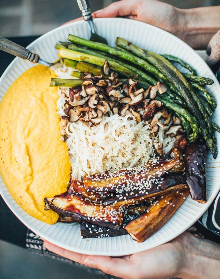 barbecue eggplant noodle bowl golden beet romesco sauce recipe