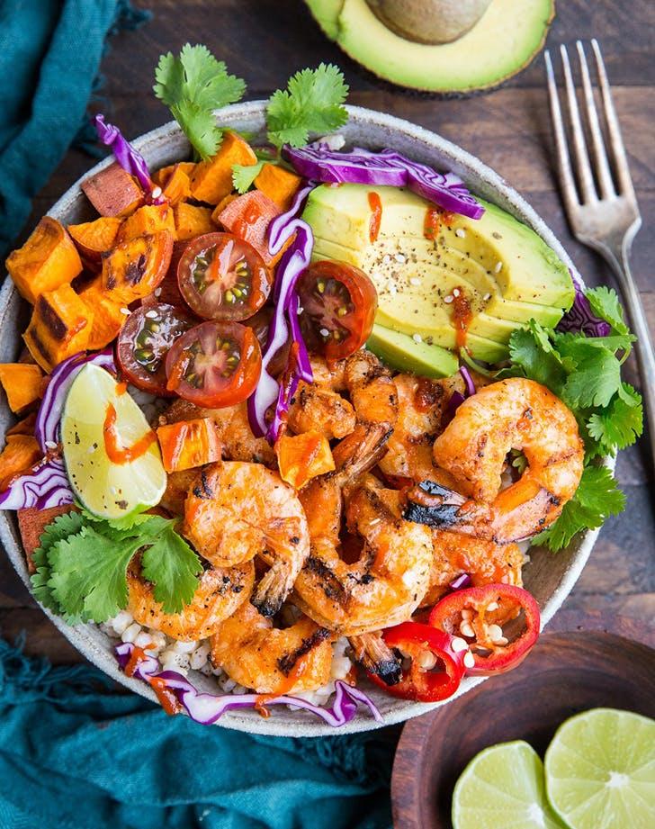 bbq shrimp sweet potato bowls recipe