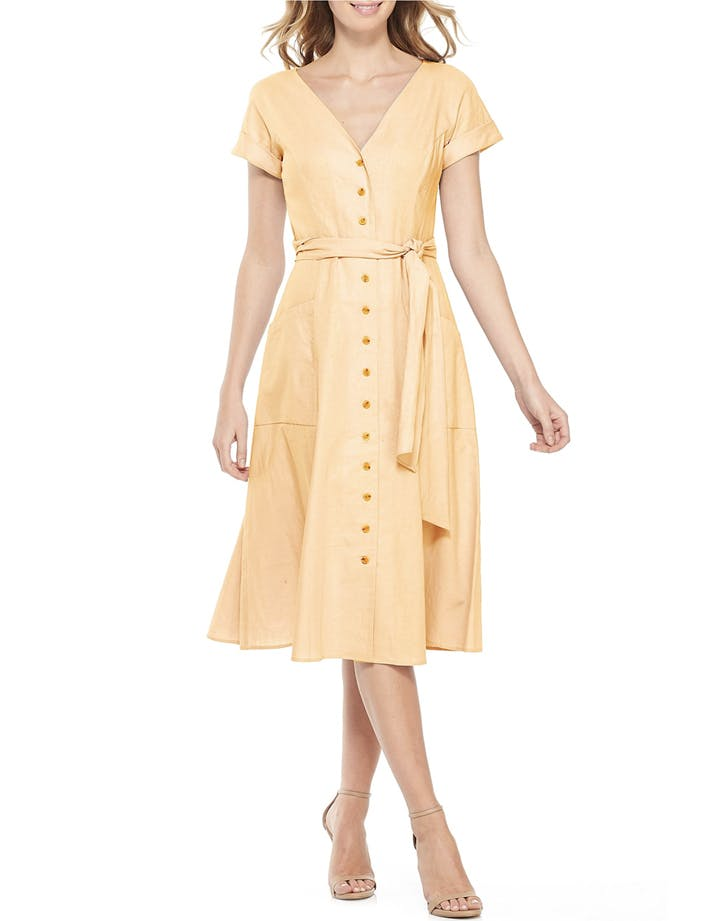 belted button down yellow dress