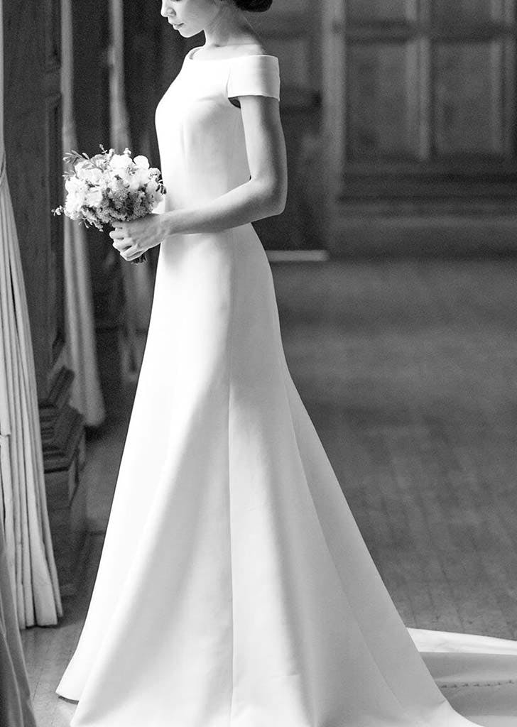 boatneck wedding gown 13