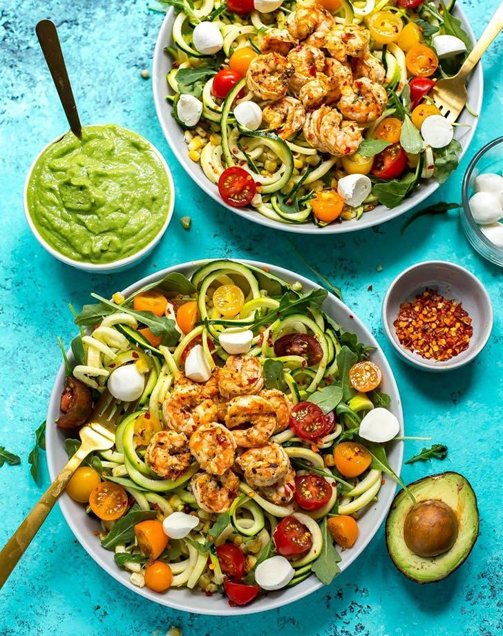 caprese shrimp zoodle bowls avocado sauce recipe