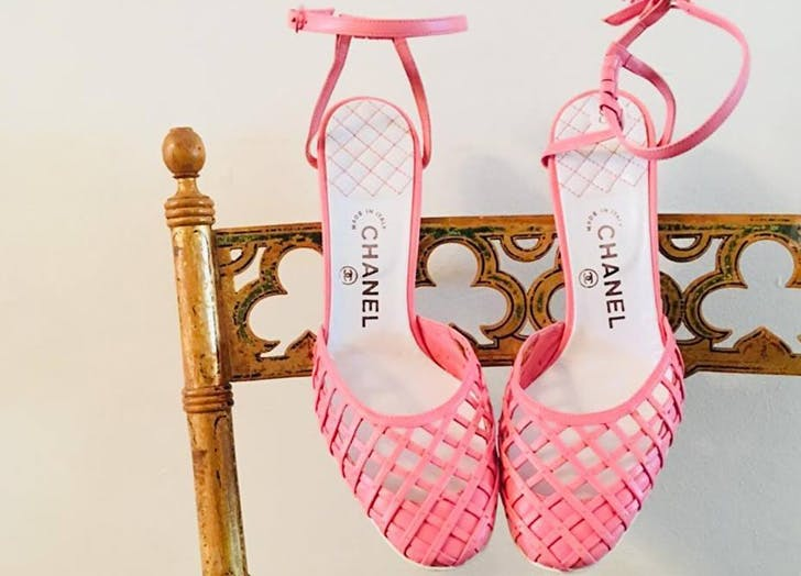 chanel shoes on chair pink