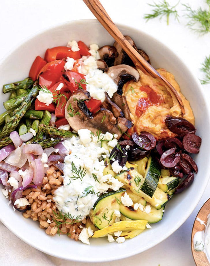 chopped grilled vegetable bowl recipe