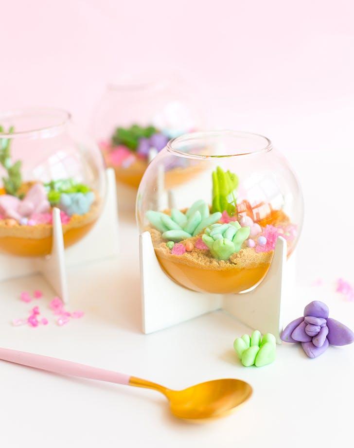 colorful terrarium pudding cups recipe