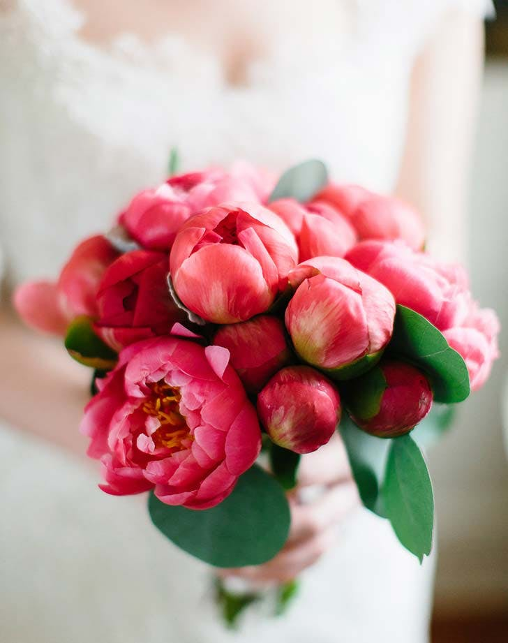 coral peony wedding bouquet