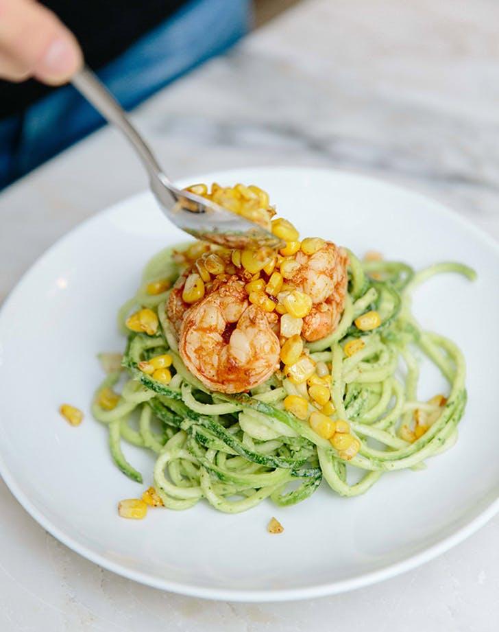 creamy avocado zucchini pasta charred corn spicy shrimp recipe