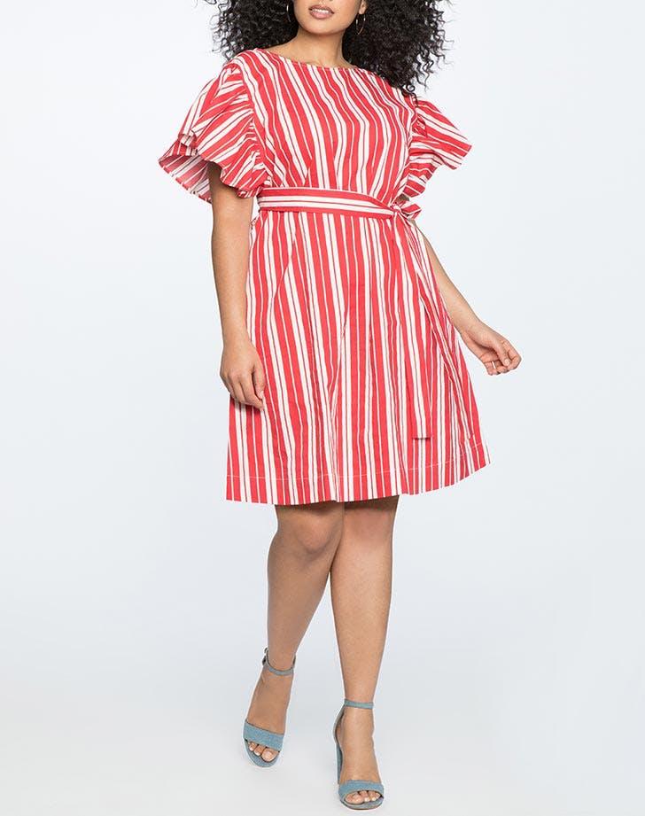 eloquii flutter sleeve striped dress