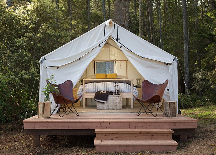 glamping mendocino grove chairs wood