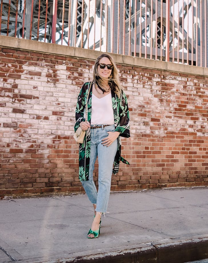 grace atwood wearing a kimono and jeans