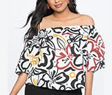 graphic floral top from eloquii