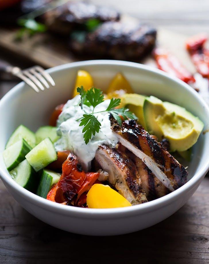 greek souvlaki bowl cauliflower rice recipe