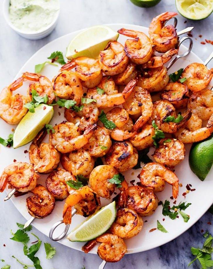 grilled spicy lemon shrimp creamy avocado cilantro sauce recipe