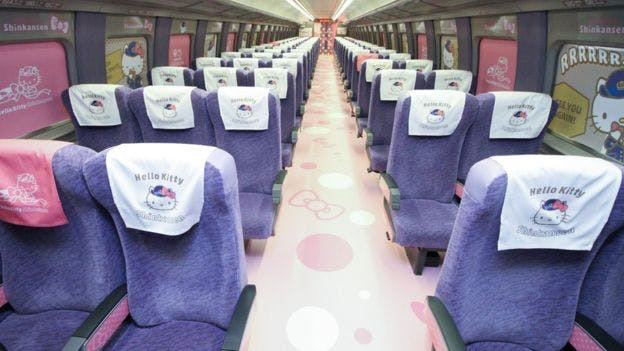 hello kitty bullet train seats