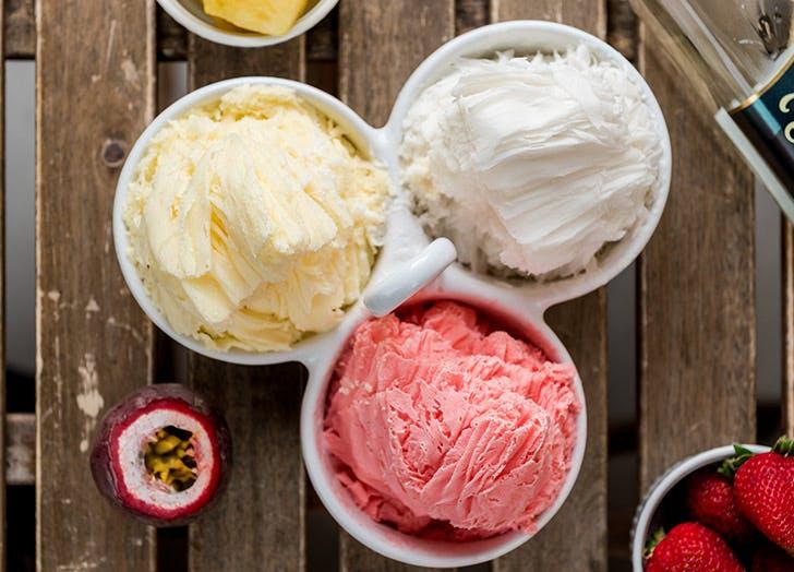 ice cream shaved snow three flavors