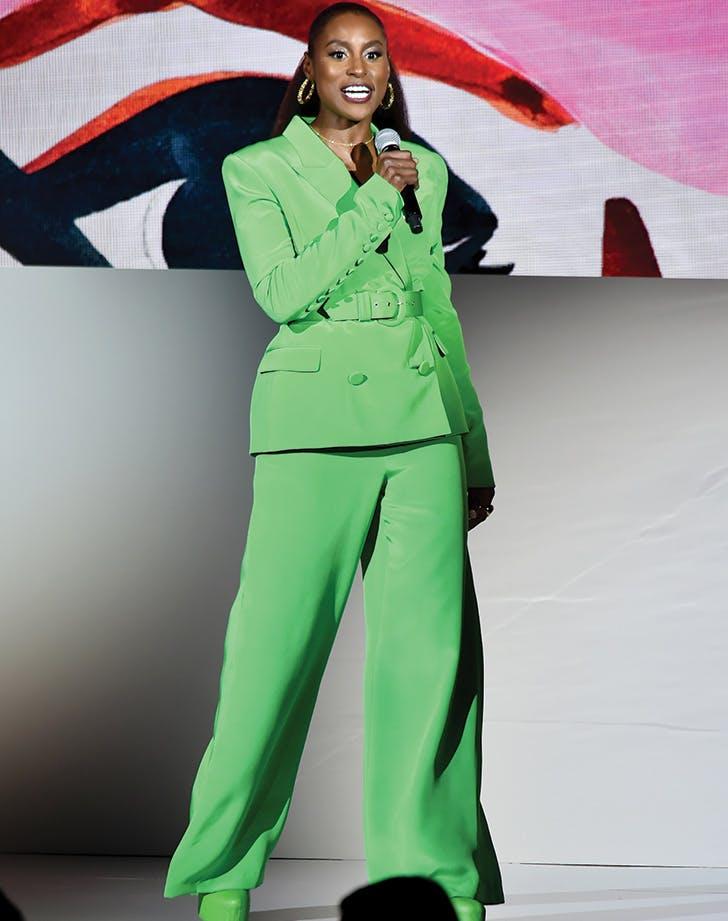 issa rae cfda awards green pantsuit