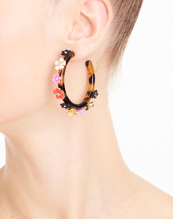 jcrew flower hoop earrings
