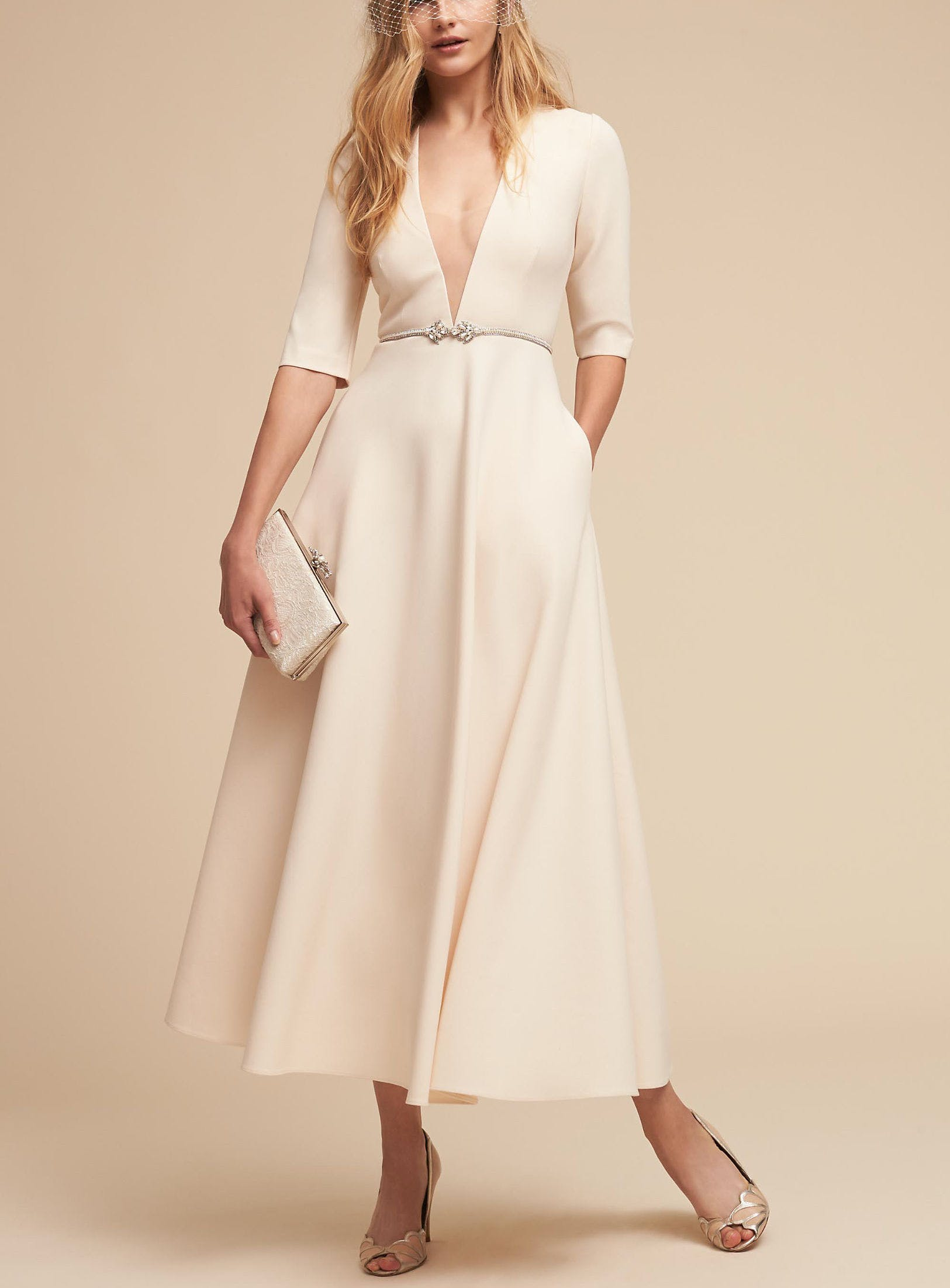 ea5983ea689 jill jill stuart tea length dress with deep v from bhldn