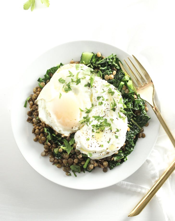 kale lentil breakfast bowl recipe