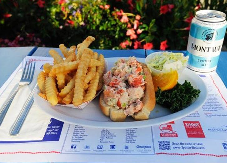 lobster roll slaw fries place setting bush