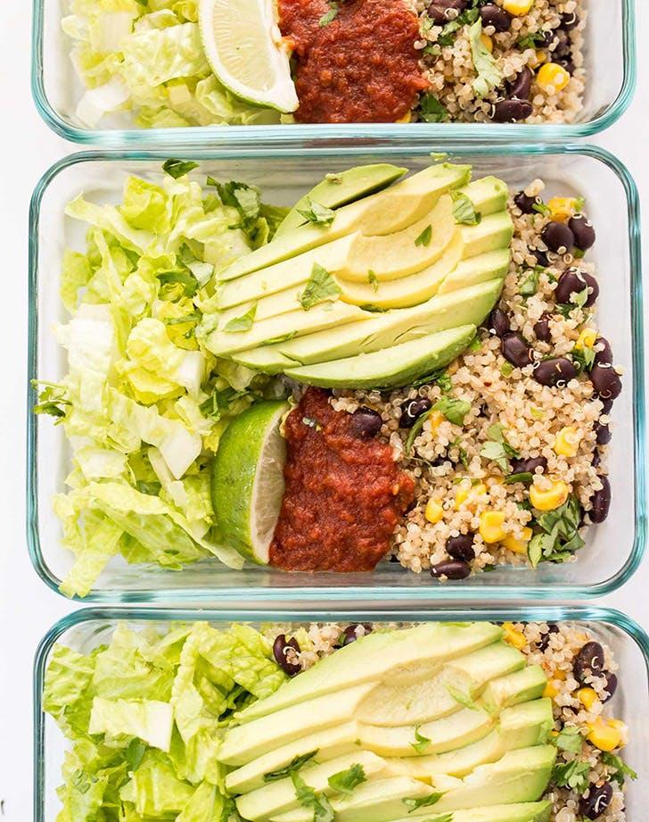 meal prep vegetarian quinoa burrito bowls recipe