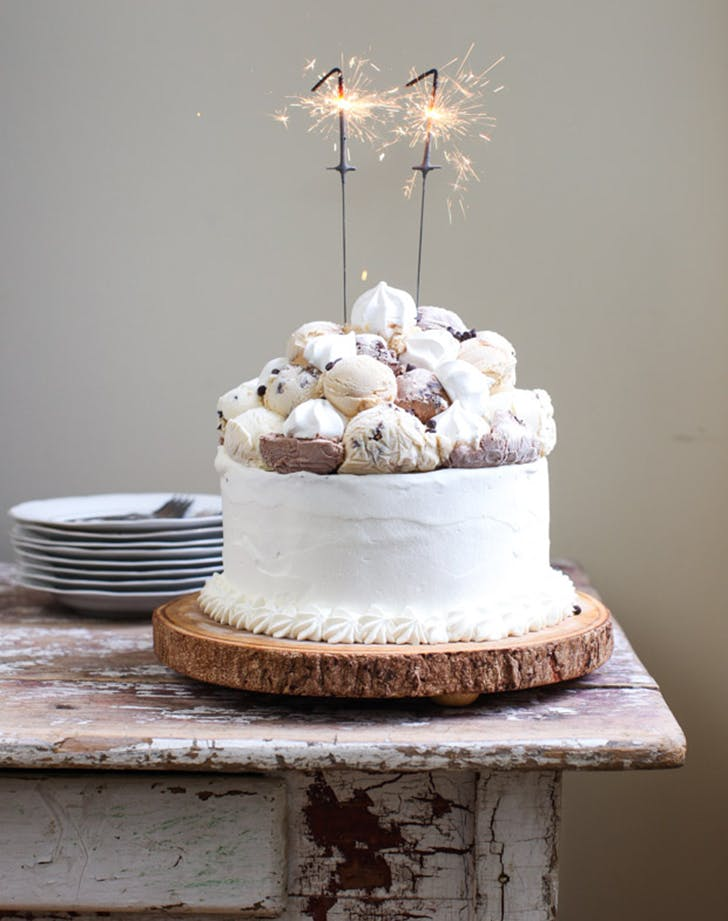 Meringue Topped Layered Ice Cream Birthday Cake Recipe