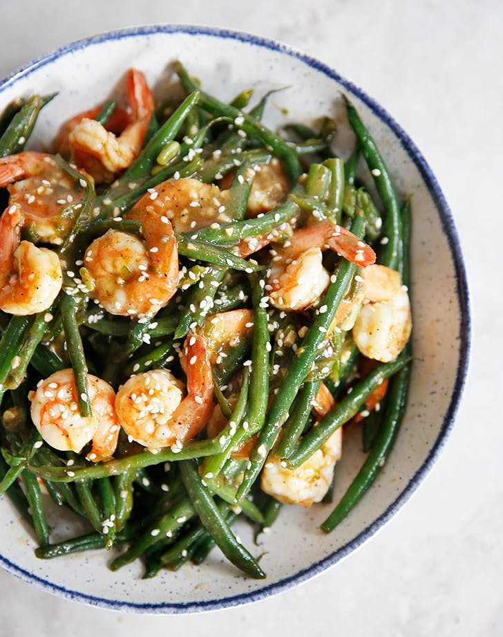one pan shrimp green beans chinese garlic sauce recipe