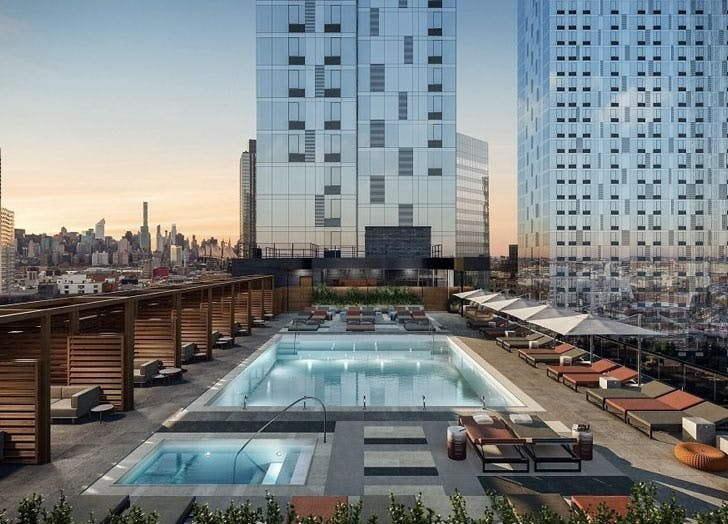 one bedroom hunters point pool roof