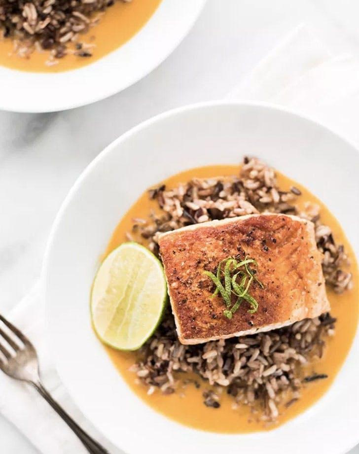 pan seared salmon with wild rice recipe