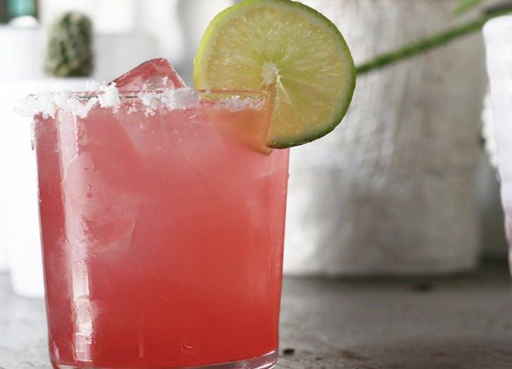 pink drink cucumber straw