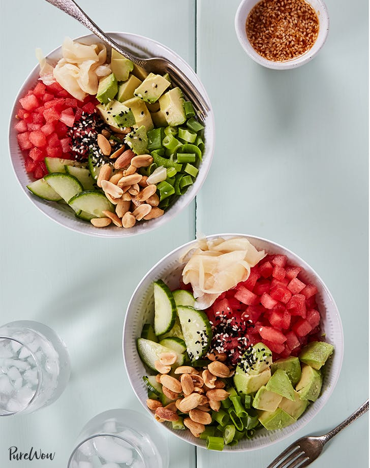 purewow watermelon poke bowl