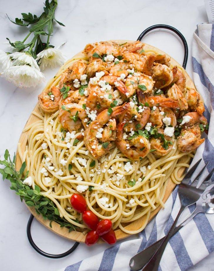quick shrimp pasta garlic feta sauce recipe