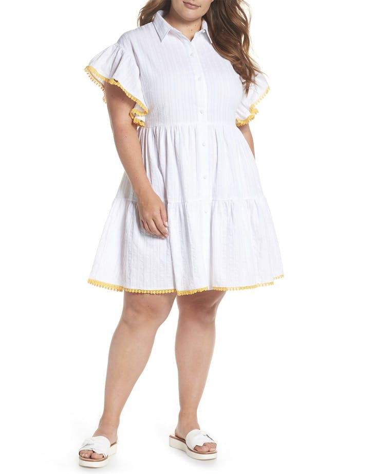 ruffled sleeve shirt dress white