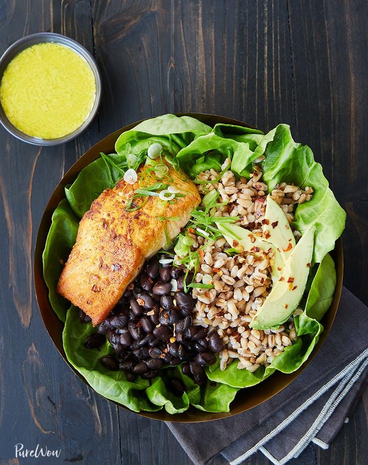 salmon bowl farro black beans tahini dressing recipe1