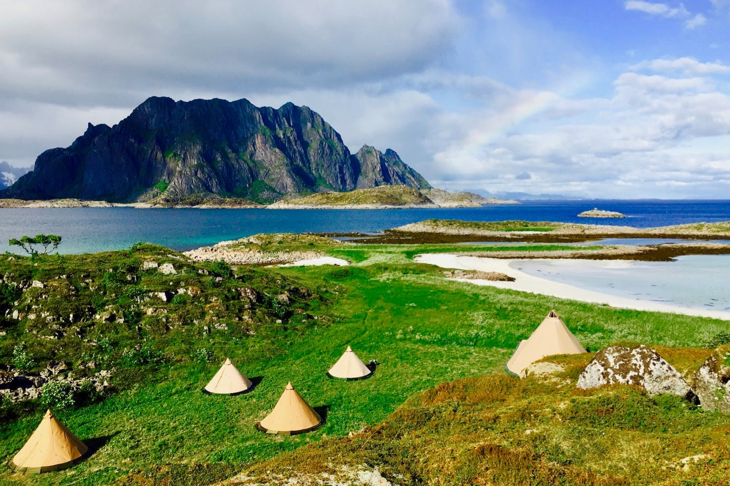 sami teepees on the lofoten islands in norway