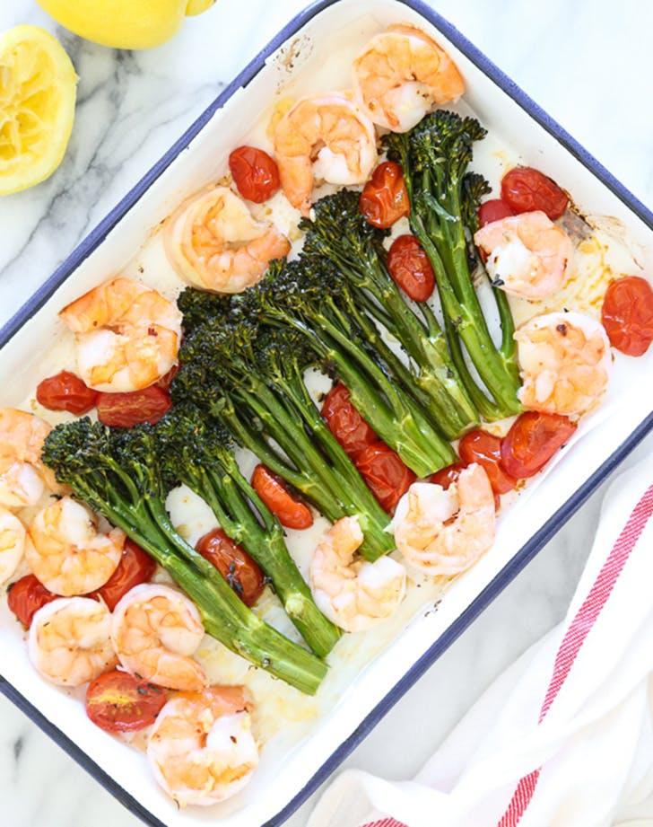 sheet pan shrimp broccolini tomatoes recipe