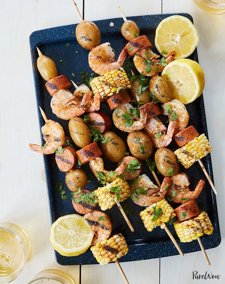 shrimp boil skewers corn sausage potatoes recipe