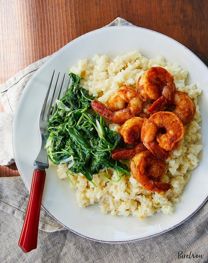 shrimp cauliflower grits arugula recipe