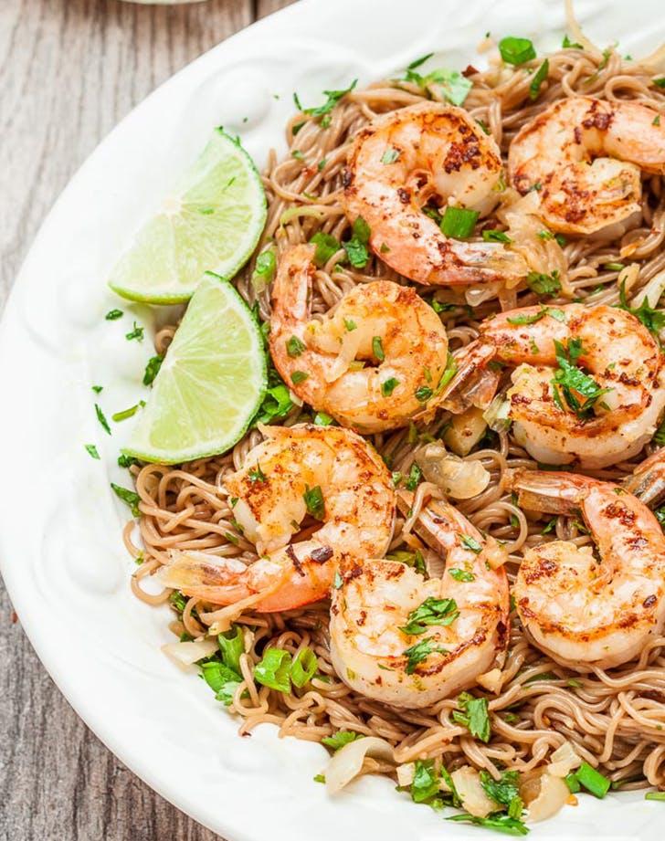 soba noodles shrimp lime cilantro recipe