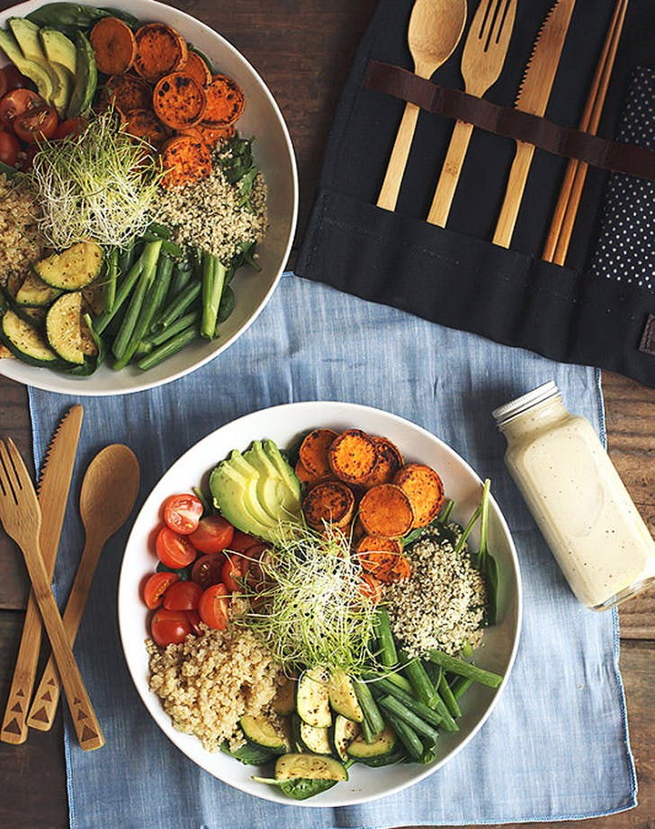 summer veggie power bowls lemon garlic tahini dressing recipe