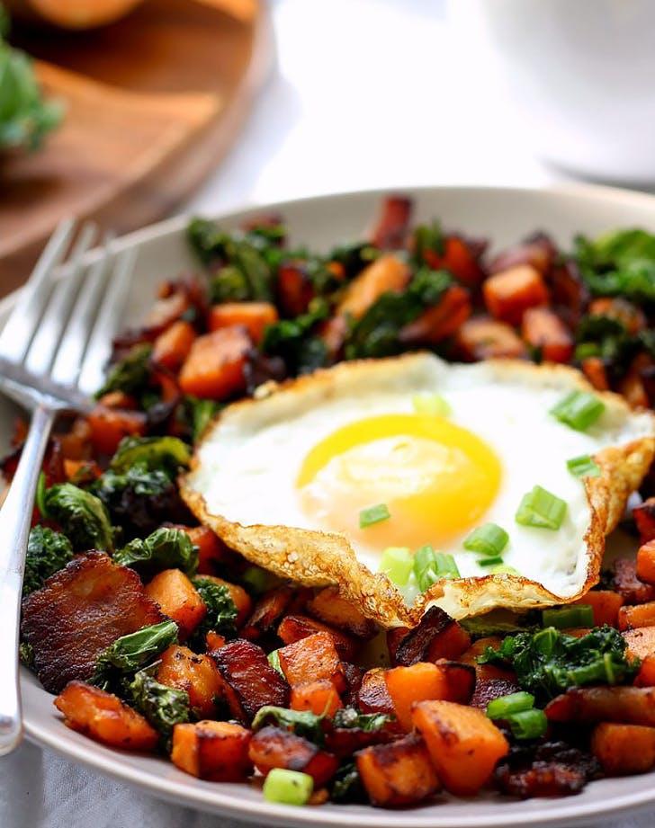 sweet potato bacon kale hash for one recipe