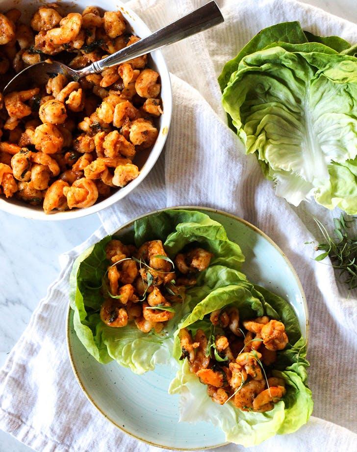 thai red curry shrimp lettuce wraps recipe