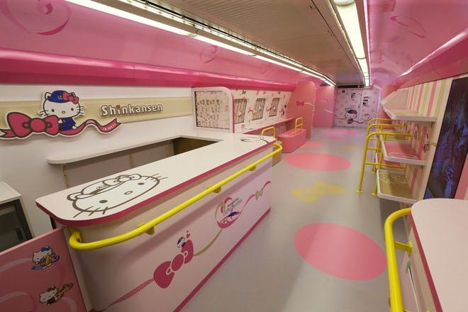 the dining car of the new hello kitty bullet train in japan