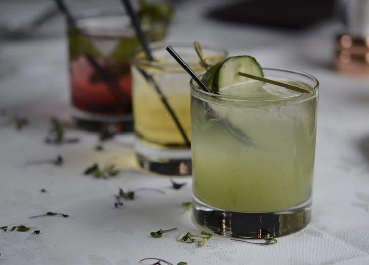 three cocktails cucumber lemon