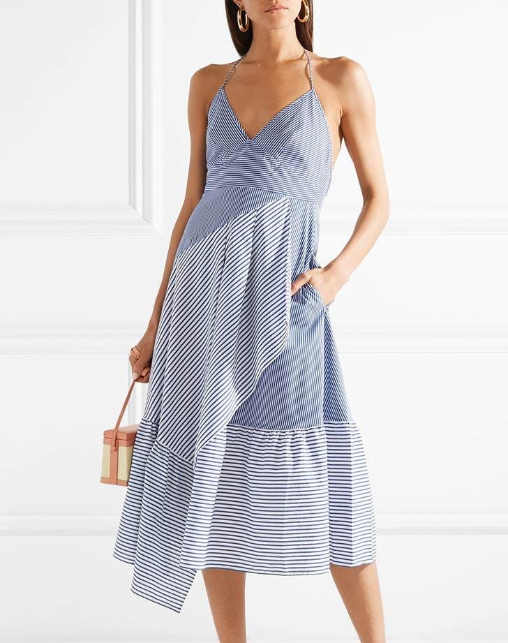 tibi striped poplin halter dress