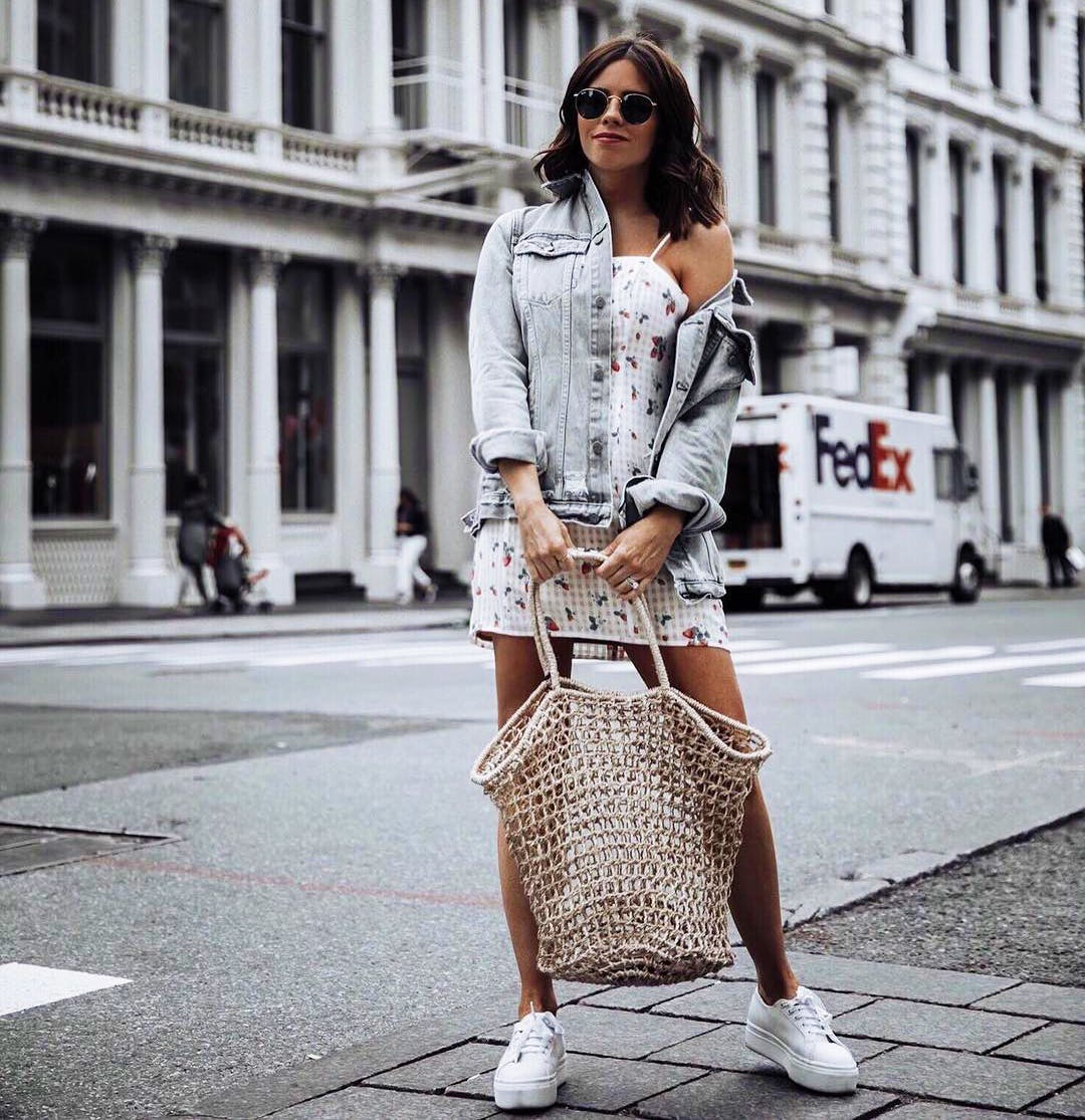 tiffany jais carrying a trend net bag