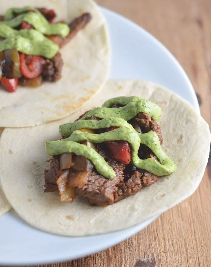 twenty minute steak fajitas with avocado and lime recipe